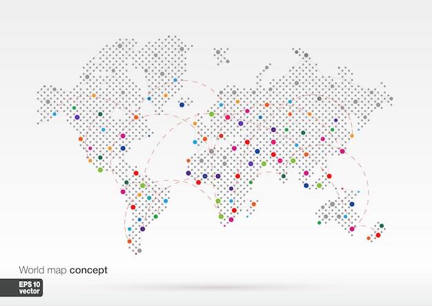 Stilisiertes weltkartenkonzept mit den größten städten. globes geschäftshintergrund. bunte illustration. mit leitungen für kommunikation, reisen, transport, netzwerk und web.