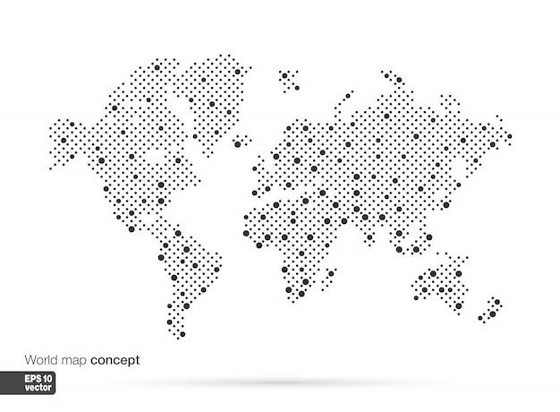 Stilisiertes weltkartenkonzept mit den größten städten. globes geschäftshintergrund. illustration.