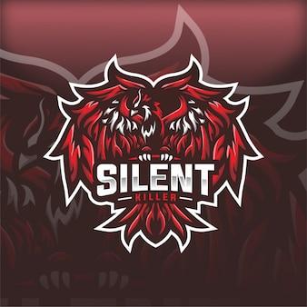 Stilles mörder-phoenix-esport-maskottchen-logo