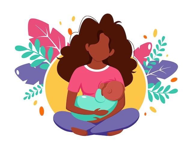 Stillkonzept. schwarze frau, die ein baby mit brust auf blatthintergrund füttert. illustration im flachen stil.