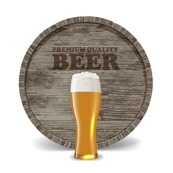 Stillleben mit holzfass, bierglas