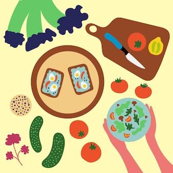 Stillleben-tisch mit leckerem, gesundem essen gesundes essen