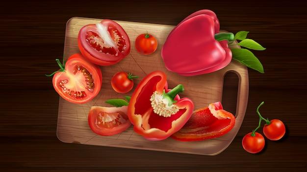 Stillleben von pfeffer und tomate auf dem brett.