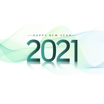Stilvoll gewellt frohes neues jahr 2021 Premium Vektoren