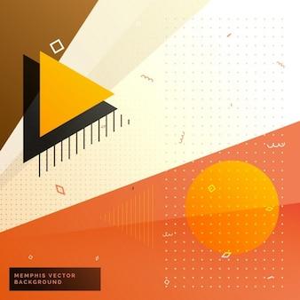 Stilvoll in warmen farben memphis hintergrund mit geometrischen formen