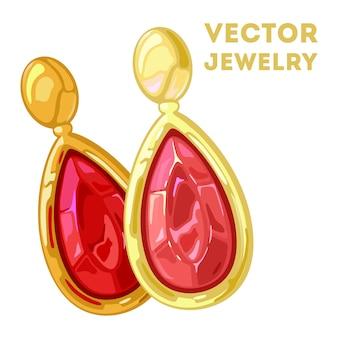 Stilvolle baumelnde ohrringe in tropfenform aus gelbgold oder ohrclips mit roten edelsteinen.
