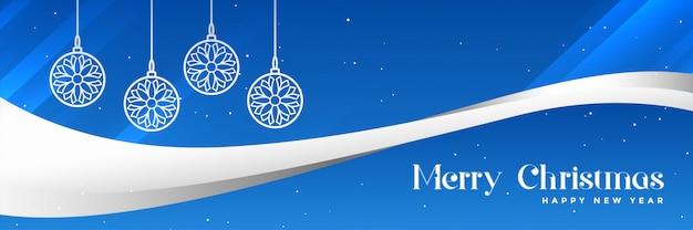 Stilvolle blaue fahnendesign der frohen weihnachten