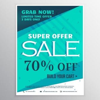 Stilvolle blaue super verkauf banner broschüre flyer vorlage für marketing und promotion
