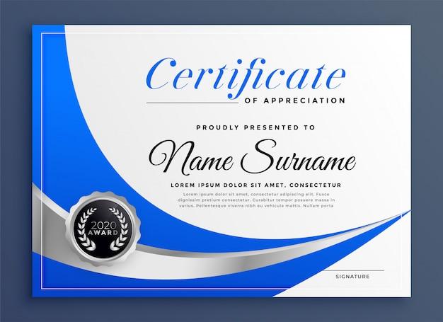 Stilvolle blaue zertifikatschablone mit gewellter form