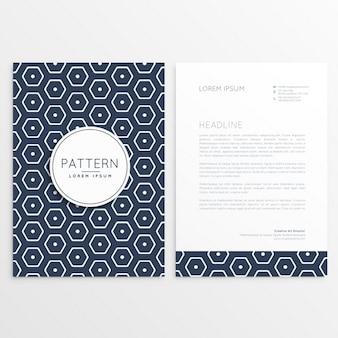 Stilvolle briefpapier design mit sechseckigen muster