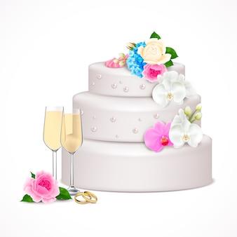 Stilvolle festliche hochzeitstorte verziert mit blumen und paar gläsern champagner realistische kompositionsillustration