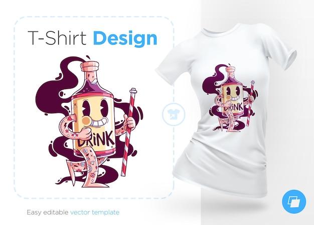 Stilvolle flasche alkohol mit tätowierungen t-shirt design