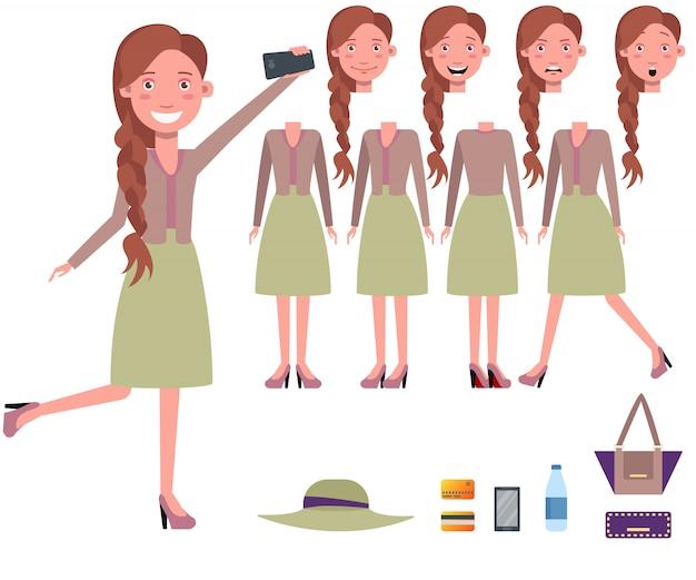 Stilvolle frau, die selfie zeichensatz mit verschiedenen haltungen nimmt