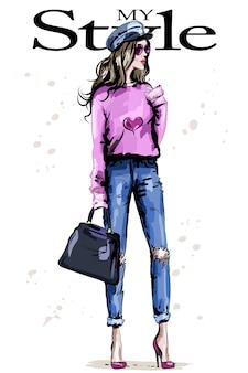 Stilvolle frau in modekleidung
