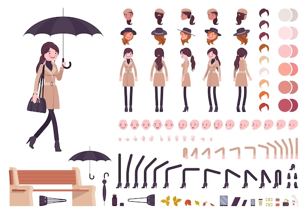 Stilvolle frau mit regenschirm herbst beige mantel charakter kreation set herbst outfit