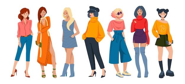 Stilvolle frauen. cartoon-modefiguren in eleganter freizeitkleidung, junge hipster-mädchen mit formellen outfits. vektor-kollektion von trendigen looks gruppe junges mädchen