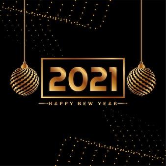 Stilvolle frohes neues jahr 2021 goldene elemente hintergrund