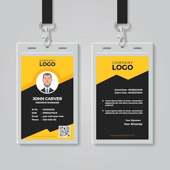 Stilvolle gelbe ausweis-design-vorlage