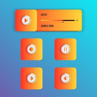Stilvolle, glänzende oberfläche des media-musik-video-players mit glaseffekttasten