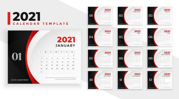 Stilvolle jahreskalendervorlage für das neue jahr 2021