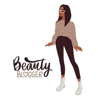 Stilvolle kleidung des schönheitsbloggermädchens in mode mit gläsern.