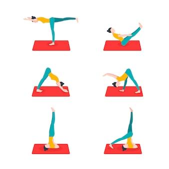 Stilvolle kollektion mit yoga für gesundes lifestyle-design