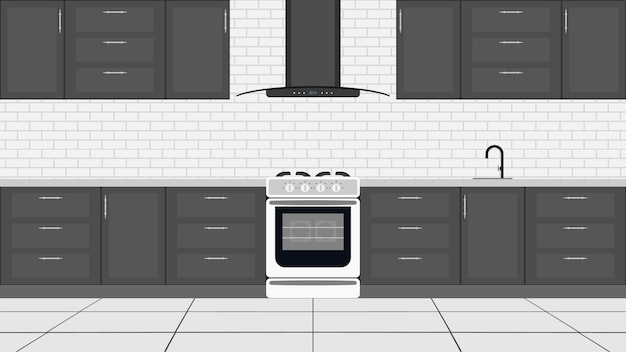 Stilvolle küche im flachen stil. küchenschränke, herd, backofen.