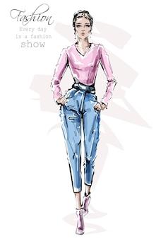Stilvolle mädchen-outfit-illustration