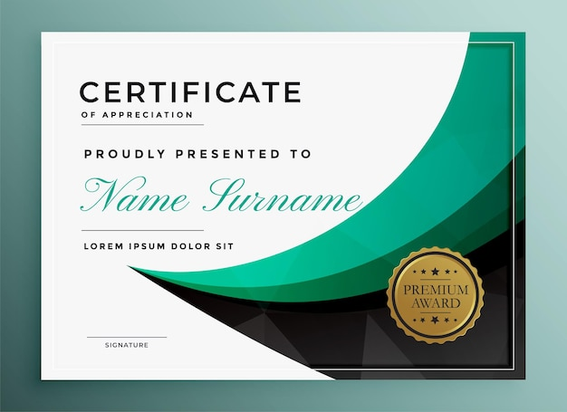 Stilvolle moderne zertifikatvorlage für den mehrzweckgebrauch