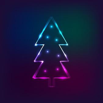 Stilvolle neujahrskarte mit neonweihnachtsbaum