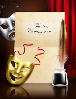 Stilvolle realistische komposition der theatersaison-ankündigungsanzeige mit papiertintenfeder der komödientragödiemasken
