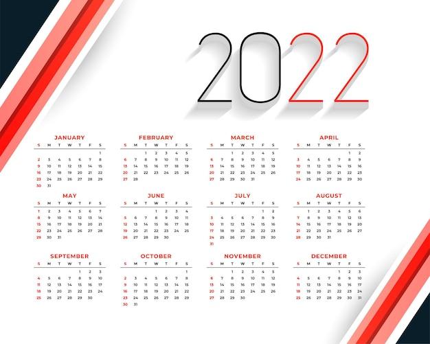 Stilvolle rote kalenderdesignvorlage für das neue jahr 2022