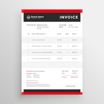 Stilvolle rote professionelle rechnung template-design