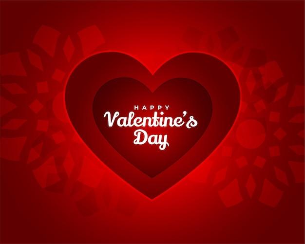 Stilvolle rote valentinstagkarte im papierschnittstil