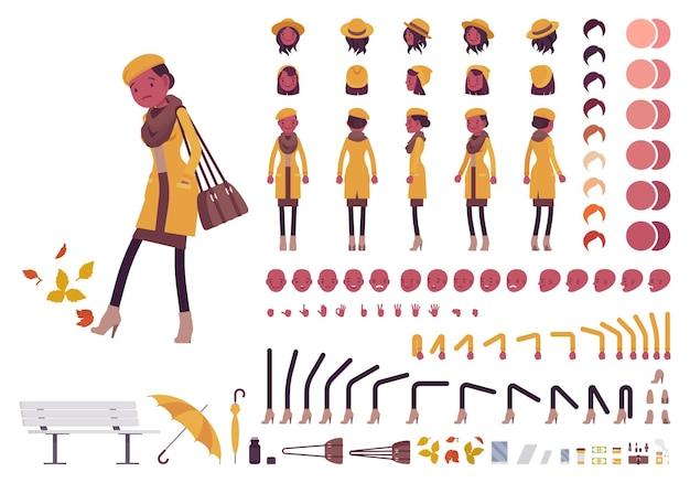 Stilvolle schwarze frau herbstkleidung charakter kreation set illustration