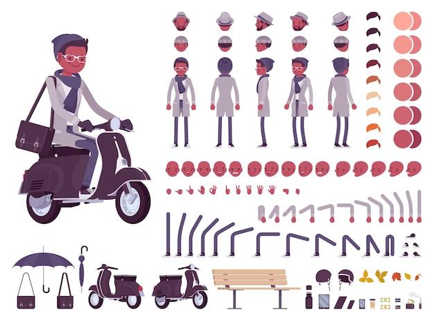 Stilvolle schwarze mann in herbstkleidung charaktererstellung set illustration