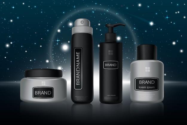 Stilvolle schwarze und silberne kosmetikflaschen in reihe realistische illustration.