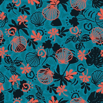 Stilvolle sommer- und ozeanelemente, die mit handgezeichneten botanischen blättern nahtloses mustervektor eps10, auf türkisgrüner farbe, überlagern