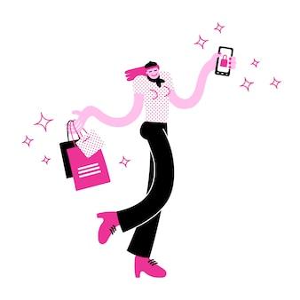 Stilvolle tragende einkaufstaschen der jungen frau und halten eines smartphone mit on-line-einkaufs-app