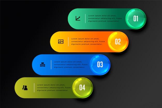 Stilvolle vier schritte infografik im dunklen thema