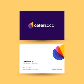 Stilvolle visitenkartenvorlage mit farbigen details
