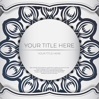Stilvolle vorlage für print-design-postkarte weiße farbe mit dunkelblauem vintage-ornament. vorbereitung einer einladungskarte mit griechischen mustern.