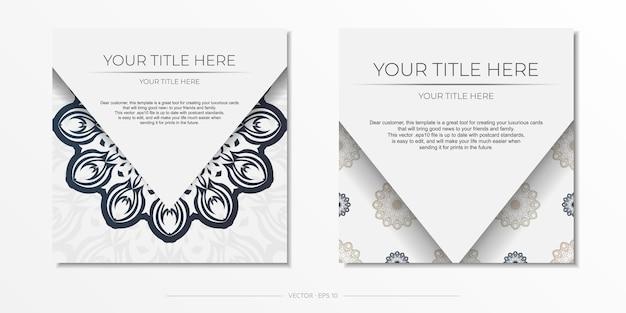 Stilvolle vorlage für print-design-postkarte weiße farbe mit dunkelblauen vintage-mustern. vorbereitung einer einladung mit einem griechischen ornament.