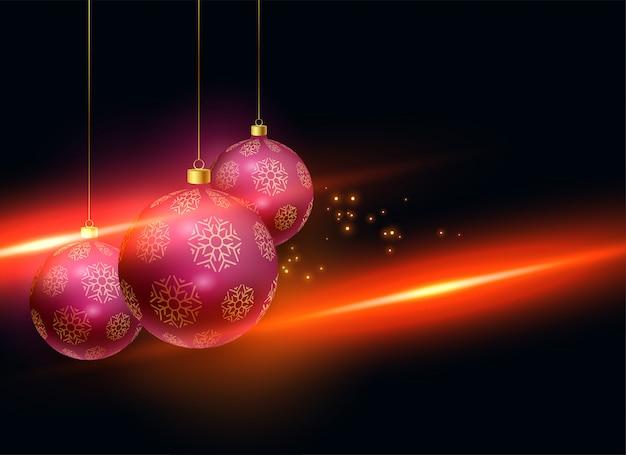 Stilvolle weihnachtsbälle mit lichteffekthintergrund