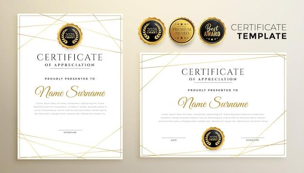 Stilvolle weiße zertifikatschablone mit goldenem linienentwurf