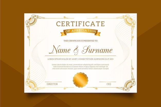 Stilvolle zertifikatvorlage