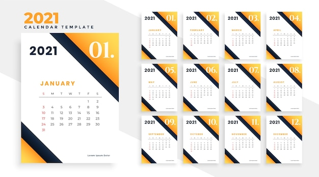 Stilvoller 2021 neujahrskalenderentwurf in der gelben farbe