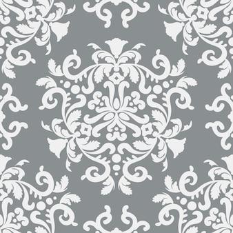 Stilvoller damast nahtloses vektormuster silbergraue und weiße farbe