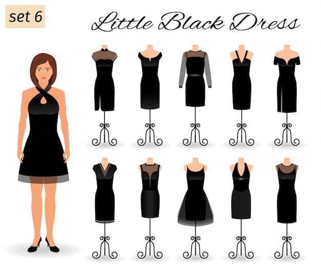 Stilvoller frauenmodellcharakter in wenigem schwarzem kleid. satz cocktailkleider auf mannequins.