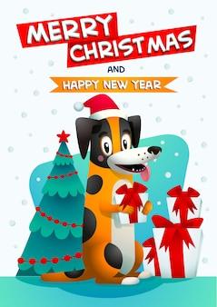 Stilvoller gelber hund mit rotem hut des weihnachtsmanns und geschenkbox